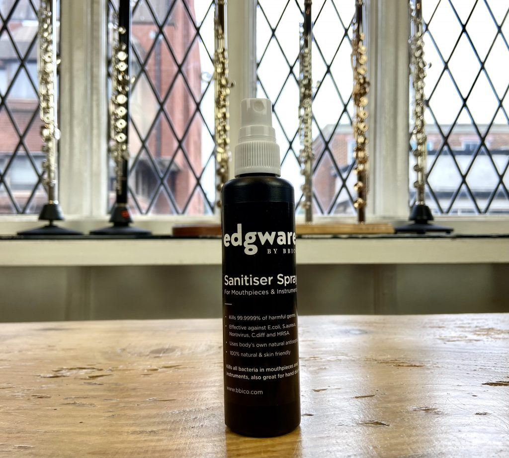 Our Edgware BY BBICO Sanitiser Spray in the Just Flutes Showroom