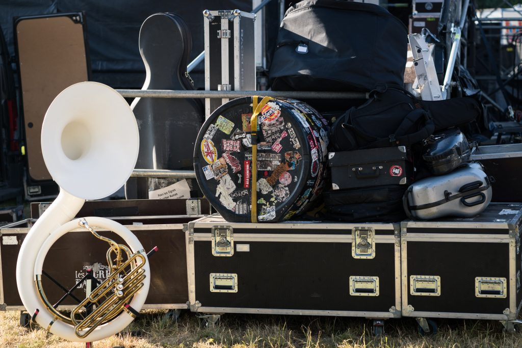 Collection of musical instrument flight cases